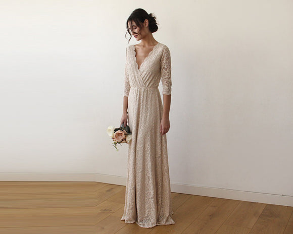 Champagne Lace three quarters Sleeve Wedding maxi dress 1124