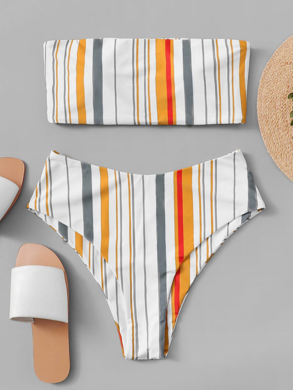 Random Striped Bandeau With High Leg Bikini