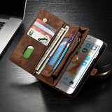 For IphoneXs/Xr/Xs Max /Samsung S9/S9Plus/S10/S10Plus/S10lite Zipper Magnetic Leather Wallet Card Slot Multifunctional Case For