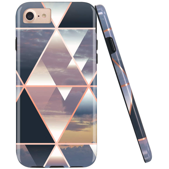 JIAXIUFEN Shiny Rose Gold Metallic Triangle Colorful Marble Desgin Slim Shockproof Flexible Bumper TPU Soft Case Rubber Silicone Cover Phone Case for iPhone 7 / iPhone 8 / iPhone 6 6S