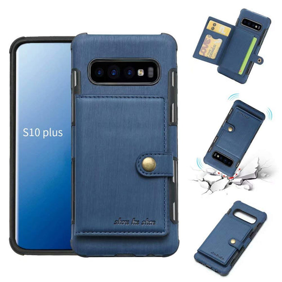 Galaxy S10 Plus Case, Futanwei Wallet Case [TPU Bumper+Card Holder Slot+Premium Texture Cloth Design] Buckle Money Pocket Photo Frame Shockproof Armor Slim Fit Cover for Samsung Galaxy S10 Plus-Blue