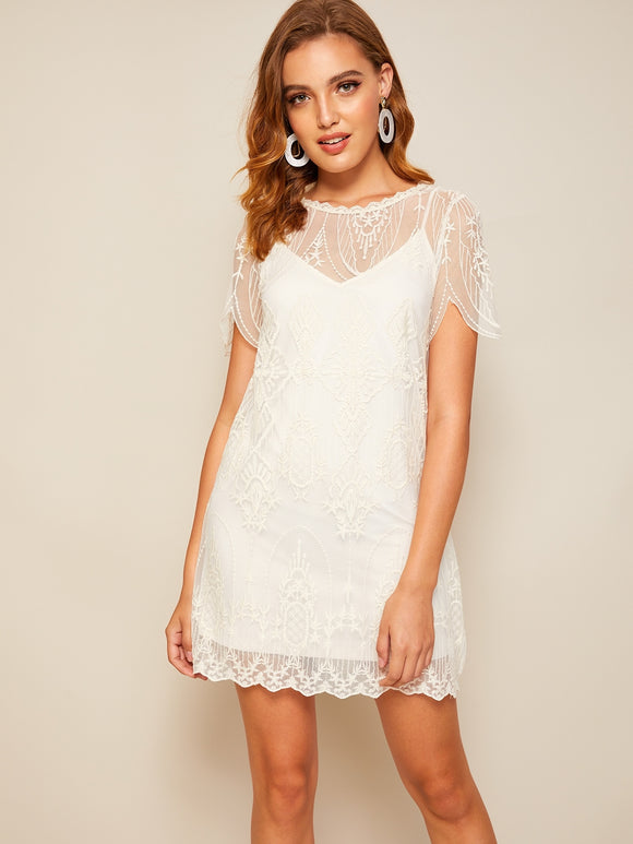 Solid Cami Dress & Embroidery Lace Dress