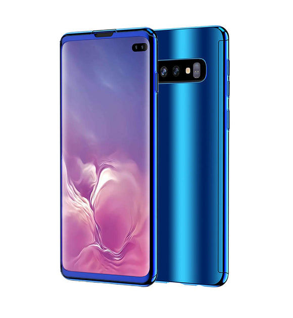 Galaxy S10 Plus Case, Ultra Slim Electroplate 360 Degree Full Body Protection Mirror Case with Tempered Glass Screen Hard PC Protector for Samsung Galaxy S10 Plus (Blue)
