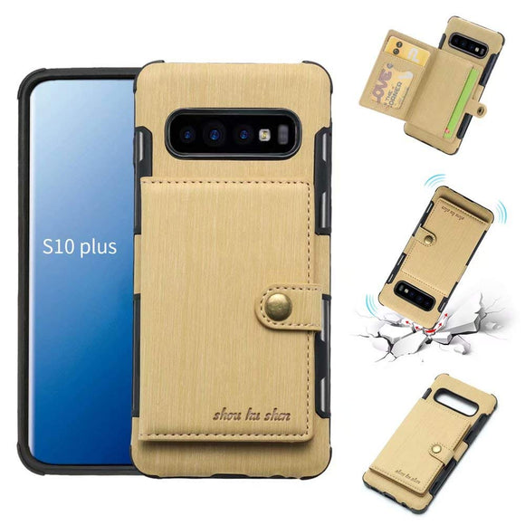 Galaxy S10 Plus Case, Futanwei Wallet Case [TPU Bumper+Card Holder Slot+Premium Texture Cloth Design] Buckle Money Pocket Photo Frame Shockproof Armor Slim Fit Cover for Samsung Galaxy S10 Plus-Gold