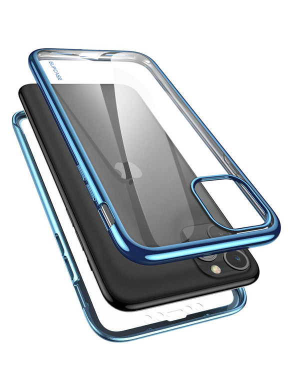 SUPCASE [Unicorn Beetle Electro Series] Designed for Apple iPhone 11 Pro 2019 5.8 inch Case, Metallic Electroplated Edges, Slim Full-Body Protective Case with Built-in Screen Protector (Blue)