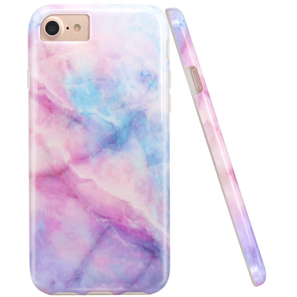 JIAXIUFEN Symphony Pink Blue Design Slim Shockproof Flexible Bumper TPU Soft Case Rubber Silicone Cover Phone Case for iPhone 7 / iPhone 8 / iPhone 6 6S