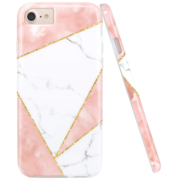 JIAXIUFEN Triangles Pink White Marble Slim Shockproof Flexible Bumper TPU Soft Case Rubber Silicone Cover Phone Case for iPhone 7 / iPhone 8 / iPhone 6 6S