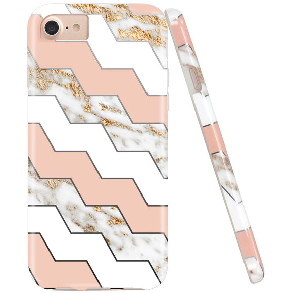 JIAXIUFEN Shiny Silver Geometric White Marble Desgin Slim Shockproof Flexible Bumper TPU Soft Case Rubber Silicone Cover Phone Case for iPhone 7 / iPhone 8 / iPhone 6 6S