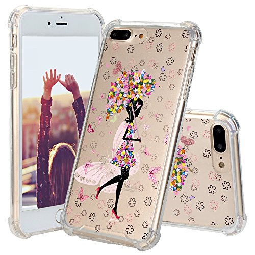 iphone 8 Plus Case, JEXICASE Floral Girl under Umbrella Pattern Clear Shock Absorption Technology Bumper Hybrid Protective Cover Case for iphone 8 Plus 5.5 Inch