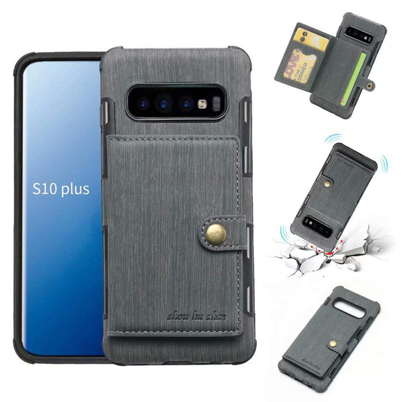 Galaxy S10 Plus Case, Futanwei Wallet Case [TPU Bumper+Card Holder Slot+Premium Texture Cloth Design] Buckle Money Pocket Photo Frame Shockproof Armor Slim Fit Cover for Samsung Galaxy S10 Plus-Gray