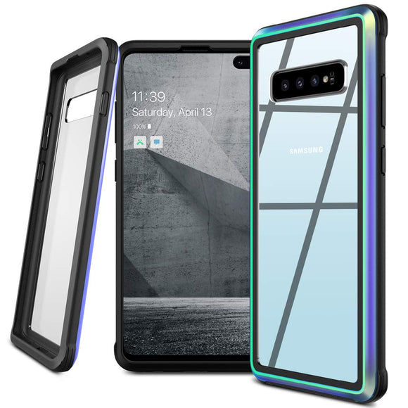 Samsung Galaxy S10 Plus Case,Isuke Galaxy S10 Plus Anti-Drop Series Hybrid Bumper TPU Metal Protective Clear Case Without Screen Protector for Samsung Galaxy S10+ 6.4 inch 2019(Iridescent)