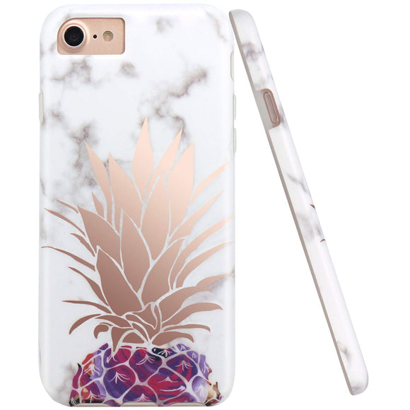 JIAXIUFEN Shiny Rose Gold Pineapple White Marble Desgin Slim Shockproof Flexible Bumper TPU Soft Case Rubber Silicone Cover Phone Case for iPhone 7 / iPhone 8 / iPhone 6 6S