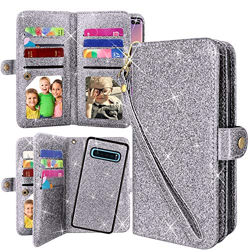 Galaxy S10 Plus Wallet Case, Detachable Magnetic 12 Card Slots Wallet Case Shockproof PU Leather Flip Protective Cover Wrist Strap for Samsung Galaxy S10 Plus(Glitter Grey)