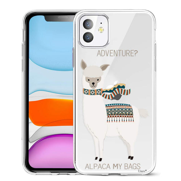 Unov Case Clear with Design for iPhone 11 Case Slim Protective Soft TPU Bumper Embossed Pattern Cover 6.1 Inch (Alpaca Bags)