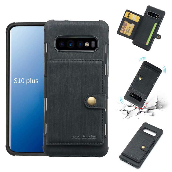 Galaxy S10 Plus Case, Futanwei Wallet Case [TPU Bumper+Card Holder Slot+Premium Texture Cloth Design] Buckle Money Pocket Photo Frame Shockproof Armor Slim Fit Cover for Samsung Galaxy S10 Plus-Black