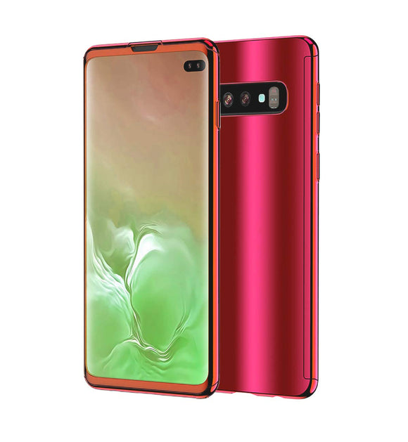 Galaxy S10 Plus Case, Ultra Slim Electroplate 360 Degree Full Body Protection Mirror Case with Tempered Glass Screen Hard PC Protector for Samsung Galaxy S10 Plus (Red)