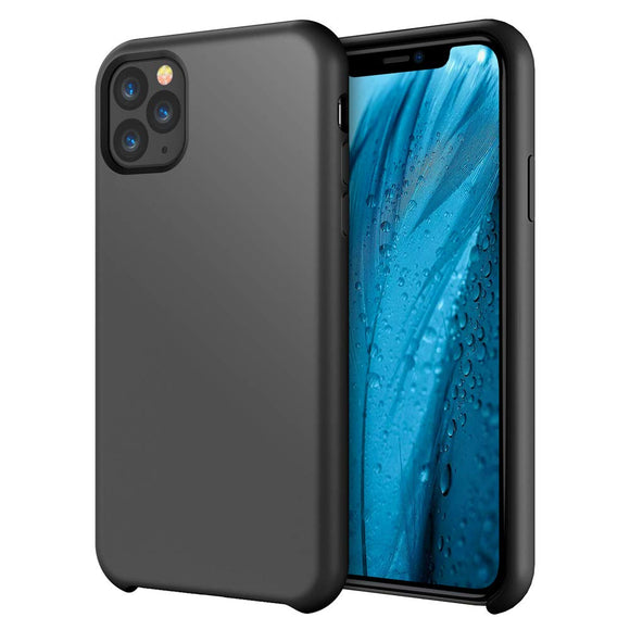 iPhone 11 Pro Case 5.8 inch FLOVEME Liquid Silicone Gel Rubber Soft Protective Mobile Phone Case Compatible with iPhone 11 Pro 2019 Soft Flannel Lining Shockproof Basic Phone Cover (Black)