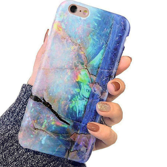 iPhone 6 Case,iPhone 6s Case Girls,Blue Green Gold Opal Marble Women Best Protective Slim Fit Clear Bumper Glossy TPU Soft Rubber Silicon Cute Cover Phone Case iPhone 6 iPhone 6s