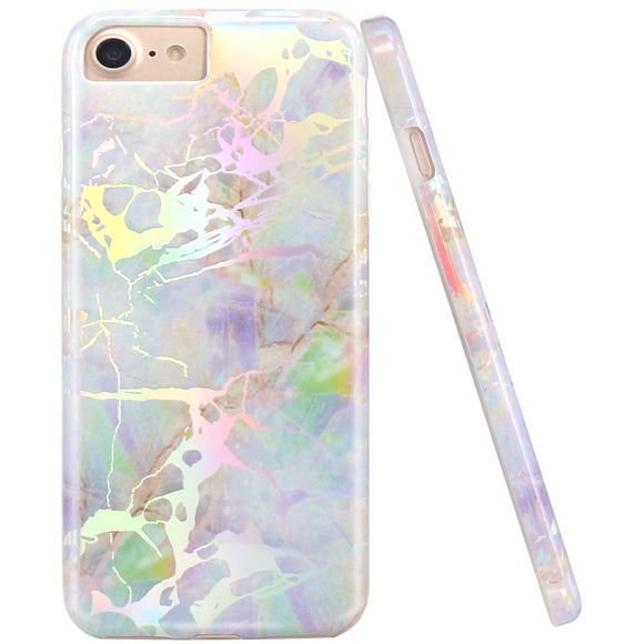 JIAXIUFEN Shiny Change Color Opal Colorful Marble Design Flexible Bumper TPU Soft Rubber Silicone Cover Phone Case for iPhone 7 / iPhone 8 / iPhone 6 6S