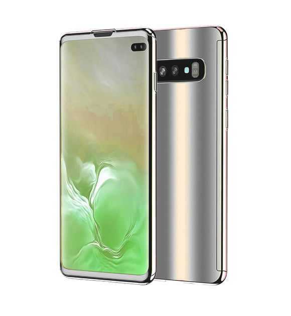 Galaxy S10 Plus Case, Ultra Slim Electroplate 360 Degree Full Body Protection Mirror Case with Tempered Glass Screen Hard PC Protector for Samsung Galaxy S10 Plus (Silver)
