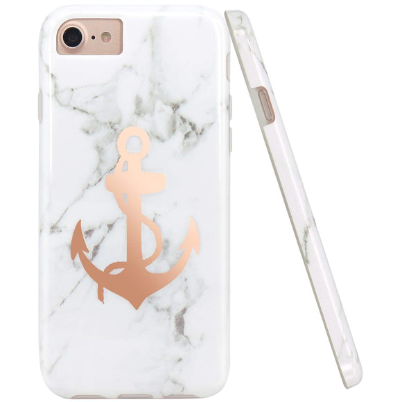 JIAXIUFEN Shiny Rose Gold Anchor White Marble Slim Shockproof Flexible Bumper TPU Soft Case Rubber Silicone Cover Phone Case for iPhone 7 / iPhone 8 / iPhone 6 6S