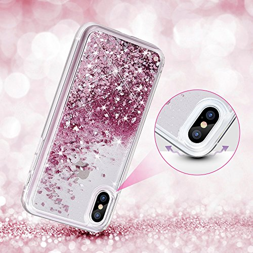 official photos 58c19 d2fab Maxdara iPhone X Case, iPhone X Glitter Liquid Sparkle Women Case Flowing  Luxury Bling Shockproof Protective Bumper Pretty Fashion Cute Design Girls  ...