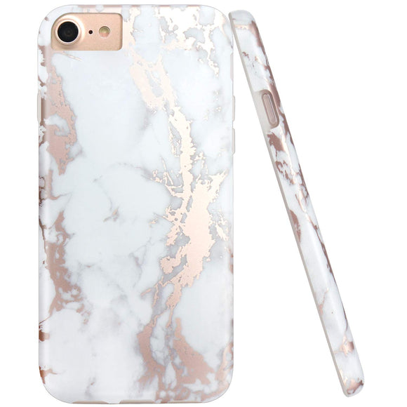 JIAXIUFEN White Marble Shiny Rose Gold Metallic Desgin Slim Shockproof Flexible Bumper TPU Soft Case Rubber Silicone Cover Phone Case for iPhone 7/iPhone 8/iPhone 6 6S