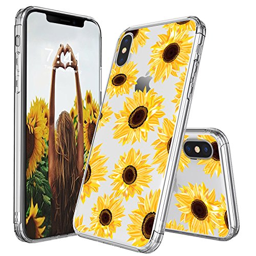 huge selection of bcf2c 1ac28 iPhone X Case, iPhone X Case for Women, MOSNOVO Floral Flower Sunflower  Pattern Clear Design Transparent Plastic Hard Back Case with TPU Bumper ...