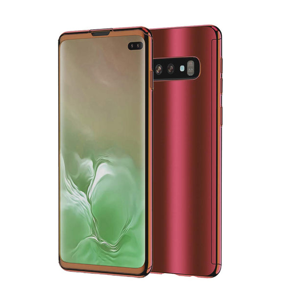 Galaxy S10 Plus Case, Ultra Slim Electroplate 360 Degree Full Body Protection Mirror Case with Tempered Glass Screen Hard PC Protector for Samsung Galaxy S10 Plus (Rose Gold)