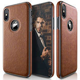 LOHASIC iPhone X Case, Ultra Slim & Thin Premium Leather Luxury PU Soft Flexible Hybrid Defender Bumper Anti-Slip Grip Scratch Resistant Protective Cover Cases for Apple iPhone X 10 - [Brown]