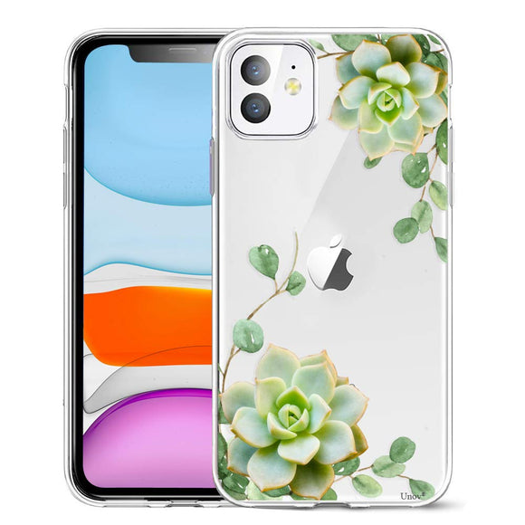 Unov Case Clear with Design for iPhone 11 Case Slim Protective Soft TPU Bumper Embossed Pattern Cover 6.1 Inch (Succulent Plant)