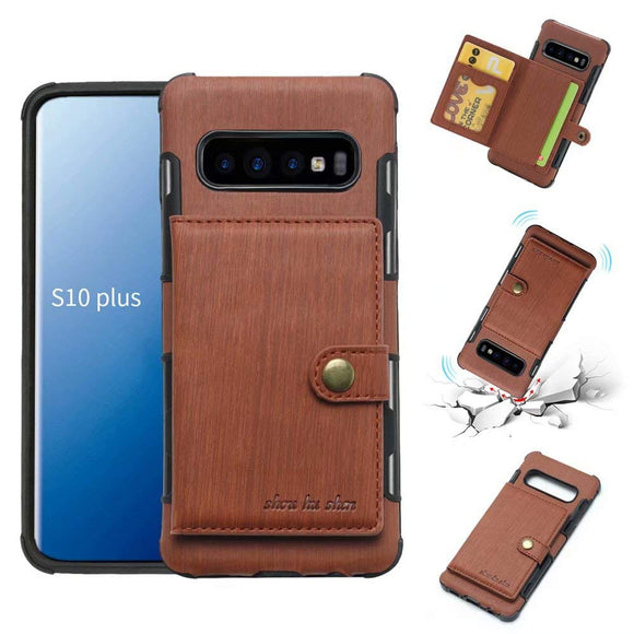 Galaxy S10 Plus Case, Futanwei Wallet Case [TPU Bumper+Card Holder Slot+Premium Texture Cloth Design] Buckle Money Pocket Photo Frame Shockproof Armor Slim Fit Cover for Samsung Galaxy S10 Plus-Brown