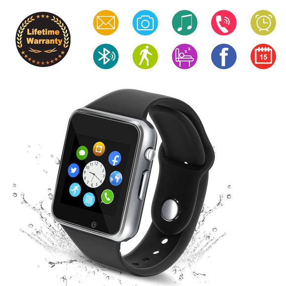 Bluetooth Smart Watch - 321OU Touchscreen Smartwatch Sport Smart Fitness Tracker Watch Smart Wrist Watch Support SIM TF Card with Camera for IOS iPhone Android Samsung LG for Kids Men Women (Silver)
