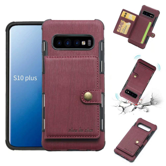 Galaxy S10 Plus Case, Futanwei Wallet Case [TPU Bumper+Card Holder Slot+Premium Texture Cloth Design] Buckle Money Pocket Photo Frame Shockproof Armor Slim Fit Cover for Samsung Galaxy S10 Plus-Red