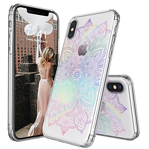 iPhone X Case, iPhone X Clear Case, MOSNOVO Gradient Rainbow Henna Mandala Printed Clear Design Transparent Plastic Case with TPU Bumper Protective Case Cover for Apple iPhone X / iPhone 10 (5.8 Inch)