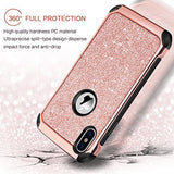 BENTOBEN iPhone X Case, iPhone 10 Shockproof Glitter Sparkle Bling Girl Women 2 in 1 with Shiny Faux Leather Hard Case Soft Bumper Protective Phone Case Cover for Apple iPhone X, Rose Gold/Pink