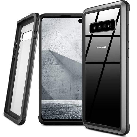 Samsung Galaxy S10 Plus Case,Isuke Anti-Drop Series Galaxy S10 Plus Matel Case[Without Screen Protector] 1.5MM Thick PC,360°Metal Frame Protective Clear Case for Samsung Galaxy S10+ 6.4inch (Black)