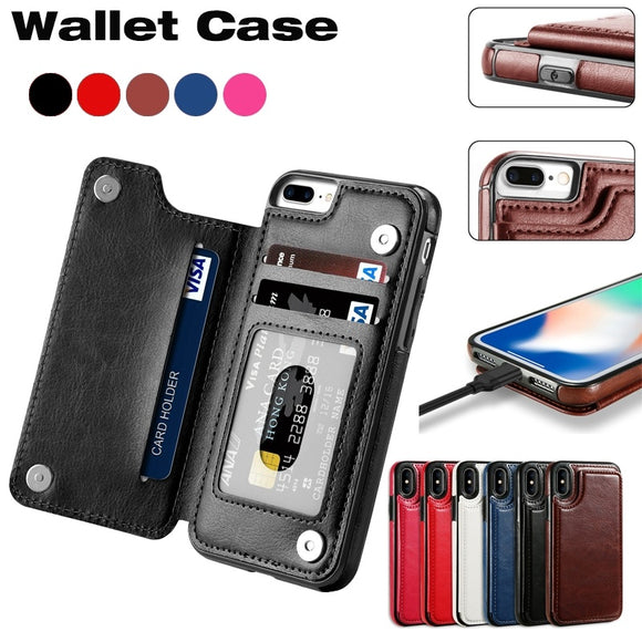 Slim Fit Premium Leather iPhone 7 Plus Wallet Casae Card Slots Shockproof Folio Flip Protective Defender Shell for Apple iPhone