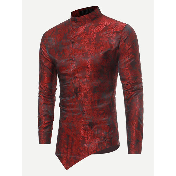 Men Jacquard Asymmetric Hem Blouse