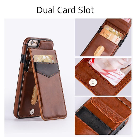 New Fashion Luxury Leather Flip Case Vertical Card Slot Kickstand Cover for for IPhone X 7 8 Plus 6 6s Plus for Galaxy Note