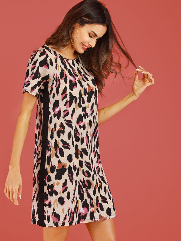 Contrast Panel Leopard Print Dress