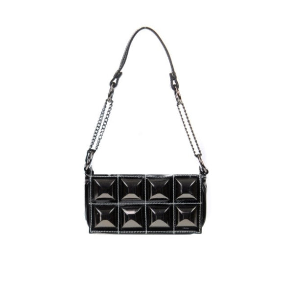 Women's Shoulder And Crossbody Handbag Black Stud