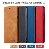 For Samsung Galaxy S10Plus S10 S10e S9 S9Plus S8 S8Plus Note9 Luxury Retro Pure Color Flip PU Leather Case For iPhone XsMax Xs X