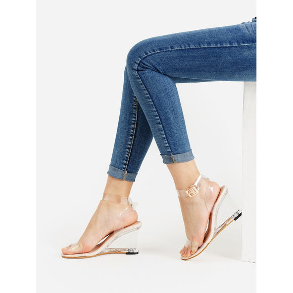 Metal Buckle Strappy Wedge Sandals