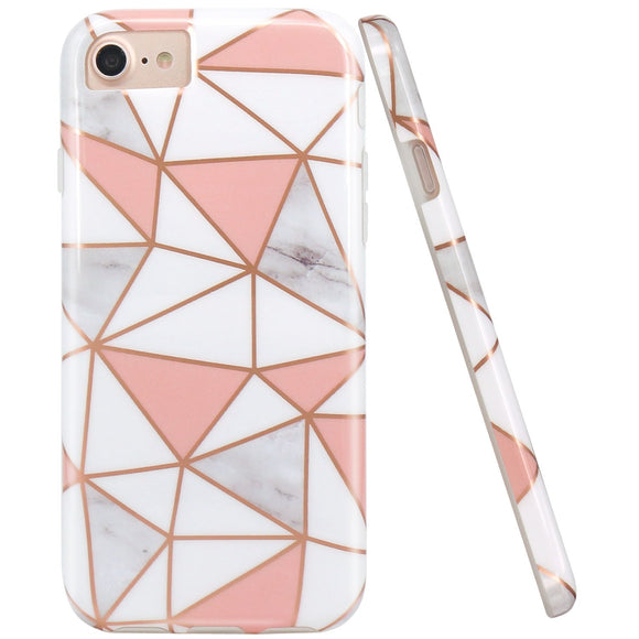 JIAXIUFEN Triangles White Pink Marble Slim Shockproof Flexible Bumper TPU Soft Case Rubber Silicone Cover Phone Case for iPhone 7 / iPhone 8 / iPhone 6 6S