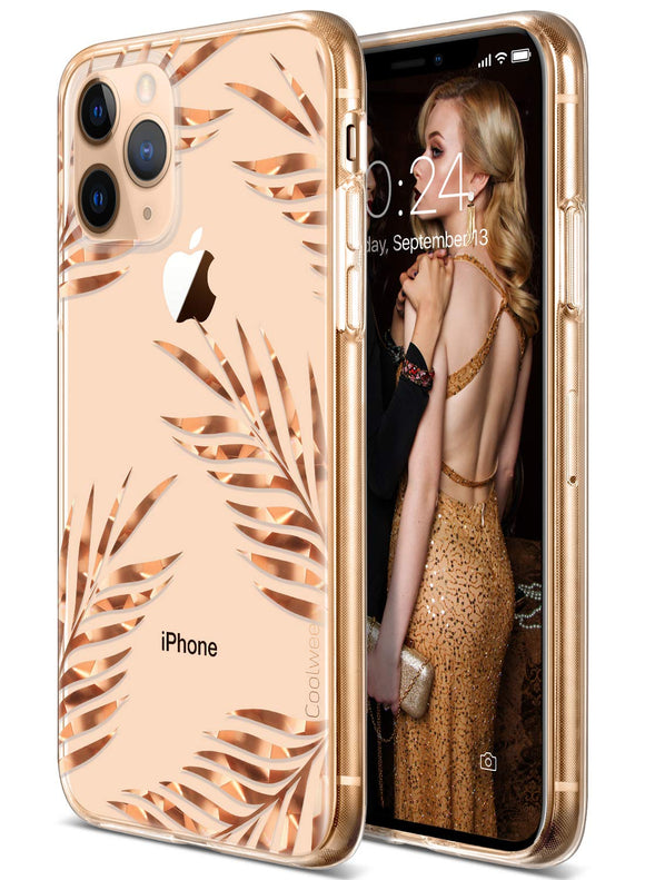 Coolwee iPhone 11 Pro Case Rose Gold Palm Floral Case for Women Girl Men Foil Clear Design Shiny Glitter Hard Back Case with Soft TPU Bumper Cover for Apple iPhone 11 Pro 5.8 inch 2019 Tropical Leaves