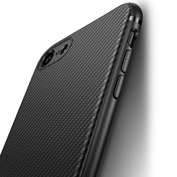 iPhone 7 Case iPhone 8 Case, iCOCEN [Carbon Fiber Texture Design] Durable Light Shockproof Cover Slim Fit Shell Soft TPU Silicone Gel Bumper Case for iPhone 7 (2016) / iPhone 8 (2017) 4.7 inch - Black