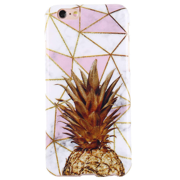 DICHEER iPhone 6 Case,iPhone 6s Case,Cute Pineapples and Marble for Women Girls Slim Fit Thin Clear Bumper Glossy TPU Soft Rubber Silicon Cover Protective Phone Case for iPhone 6/iPhone 6s