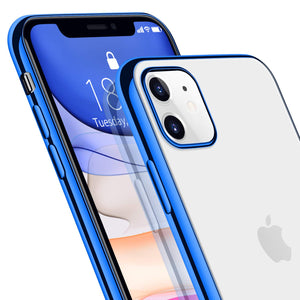 DTTO iPhone 11 Case 2019, Slim Fit Clear Soft TPU Cover with Metal Luster Edge for 2019 Apple iPhone 6.1 Inch-Blue