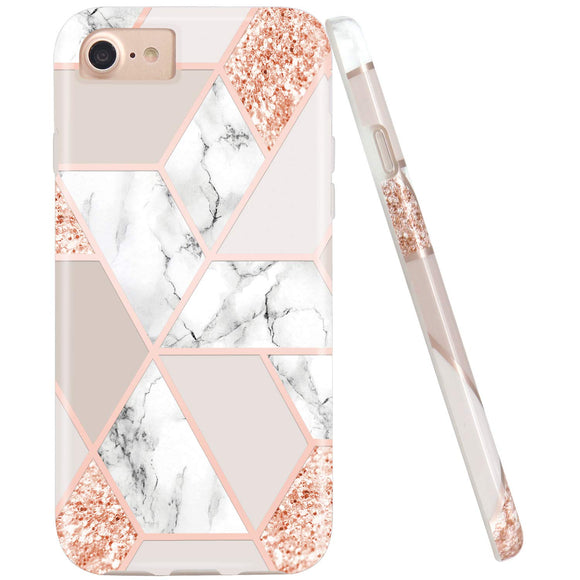 JIAXIUFEN Sparkle Glitter Shiny Rose Gold Metallic Marble Desgin Slim Shockproof Flexible Bumper TPU Soft Case Rubber Silicone Cover Phone Case for iPhone 7 / iPhone 8 / iPhone 6 6S